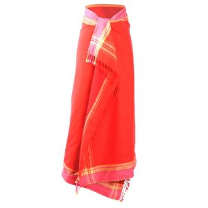 Kikoy Frottee Strandtuch, Sarong, rot, von Africulture.