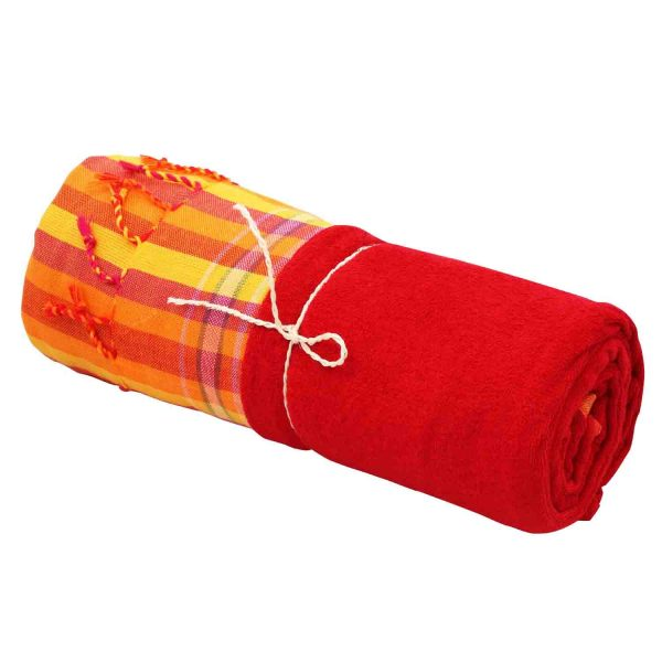 Kikoy Frottee Strandtuch, Sarong, gestreift, rotes Frottee Innenlayer.